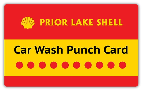 prior lake shell car wash punch card