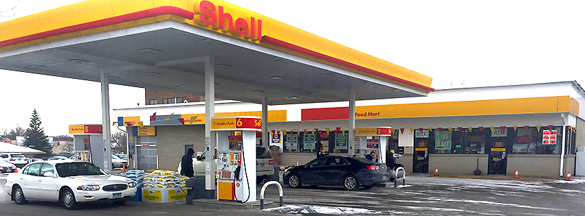 Prior lake shell gas station with gas pumps